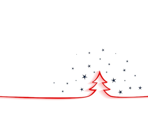 Merry christmas elegant background with red ltree in lineal style
