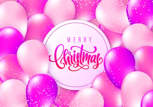 Merry christmas  elegant greeting card with realistic glossy flying balloons and sparkling confetti