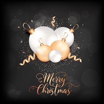 Merry christmas elegant greeting card with xmas balls and confetti. festive decoration in white and gold colors with glitter on black blurred background with golden lettering. winter holidays postcard
