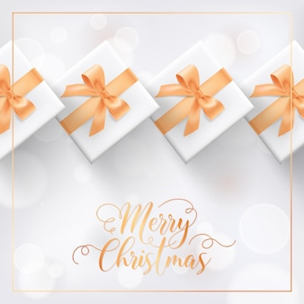 Merry christmas elegant greeting card with xmas gifts. festive season wrapped presents, gold decoration on white blurred background with golden lettering. winter holidays postcard vector illustration