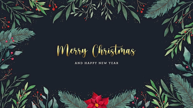 Merry christmas elegant postcard greetings with watercolor leaves and flowers