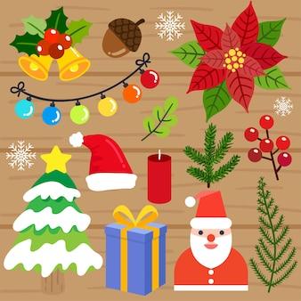 Merry Christmas elements vector.