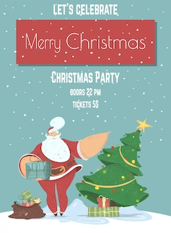 메리 크리스마스 이브 저녁 파티 포스터 또는 전단지 템플릿