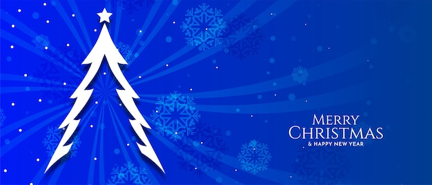 Merry christmas festival blue color banner with tree vector