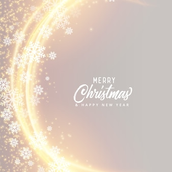 Merry christmas festival card design with snowflakes and light effect