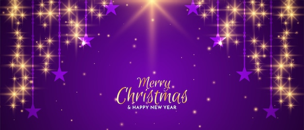 Счастливого рождества фестиваль падающих звезд баннер дизайн вектор