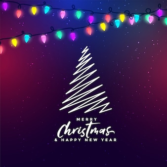 Merry christmas festival lights background with tree