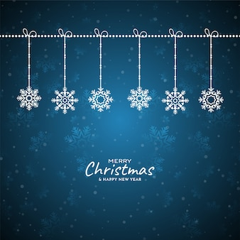 Merry christmas festival snowflakes blue background