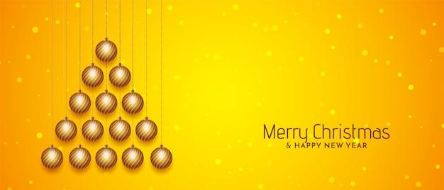 메리 크리스마스 축제 노란색 배너 디자인 벡터