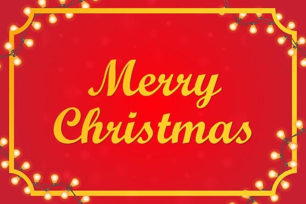 花輪で飾られたメリークリスマスのお祝いのバナー挨拶ポスター