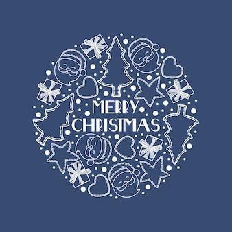 Merry christmas festive card with christmas symbols.