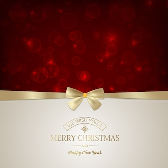 Merry christmas festive card with inscription and golden ribbon bow on red glowing stars