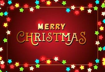 Merry Christmas festive poster design. Xmas lights