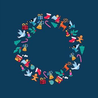 Счастливого рождества. праздничная круглая рамка на новый год в стиле каракули на синем фоне.