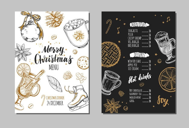 Merry christmas festive winter menu on chalkboard. design template includes different hand drawn illustrations