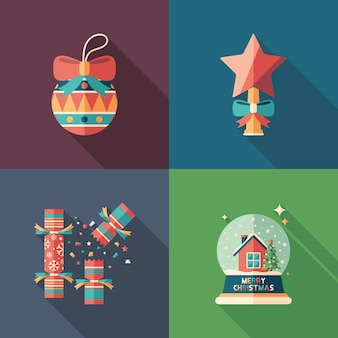Merry christmas flat square icons set.
