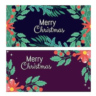 メリークリスマスの花の葉ベリーのグリーティングカード