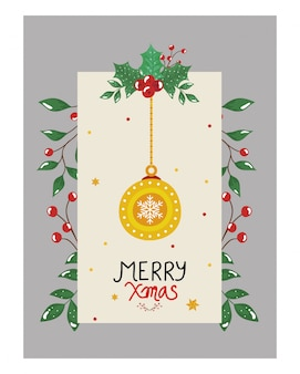 Merry christmas flyer with ball hanging and leafs decorative