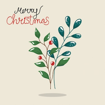Merry christmas flyer with branches and leafs