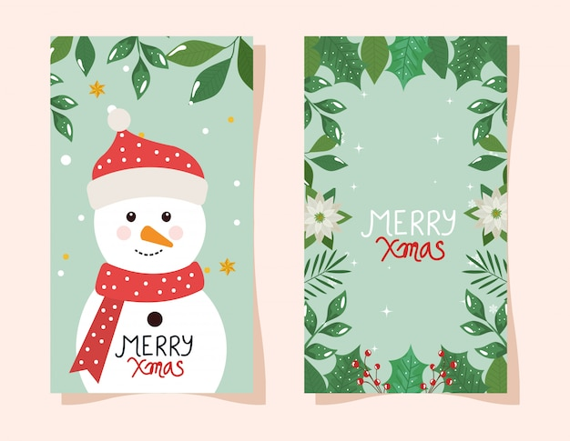 Merry christmas flyer with snowman and frame of flowers