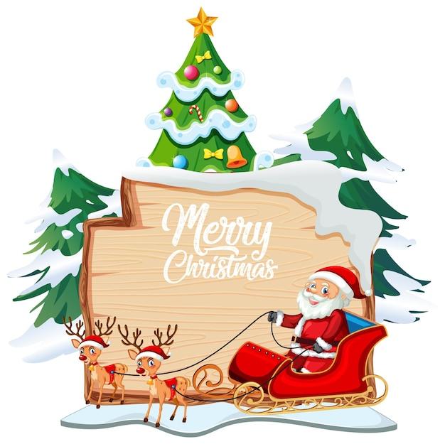 白い背景の上のクリスマスの漫画のキャラクターと木の板のメリークリスマスフォントのロゴ