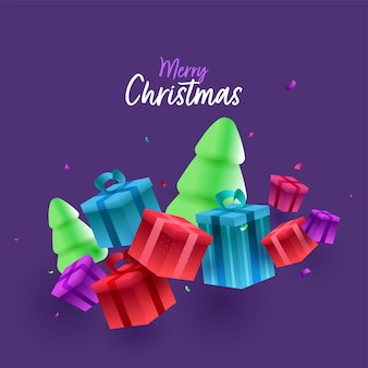 Merry christmas font with 3d snowy xmas trees and gift boxes