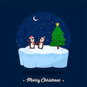 Веселого рождества шрифт с мультяшным двумя пингвинами в гирлянде с подсветкой