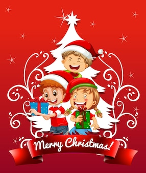 Merry christmas font with children wearing christmas costume on red background