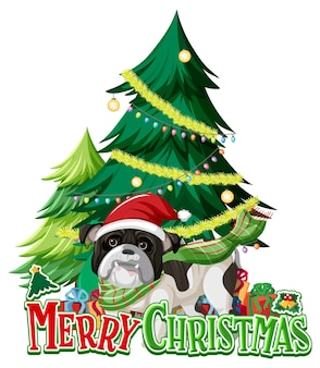Merry christmas font with christmas tree and bulldog