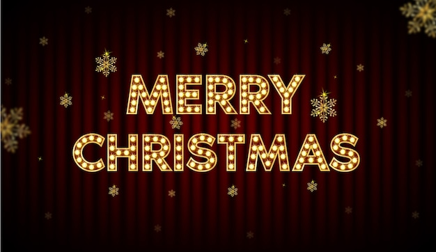 Merry christmas, font with a light bulb inside, shining people. and new year message board.