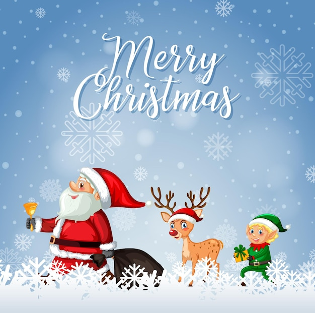 Merry christmas font with santa claus and reindeer
