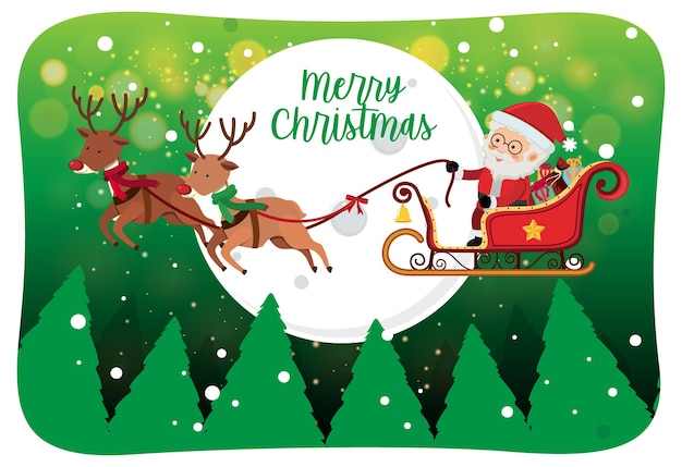 Merry christmas font with santa claus on a sleigh in snow scene