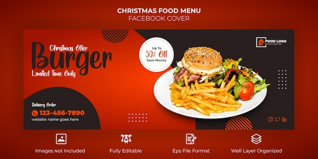 Merry christmas food menu facebook cover banner