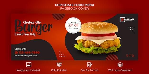Merry christmas food menu facebook cover banner