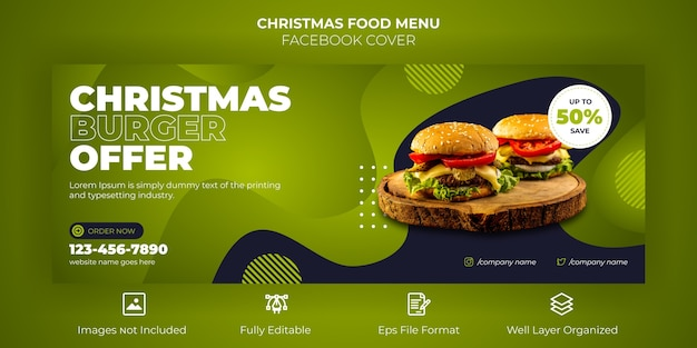 Merry christmas food menu facebook cover banner Premium Vector