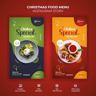 Merry christmas food menu instagram story template