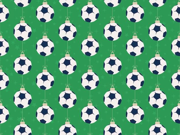 メリークリスマスサッカーのシームレスな水平パターン。