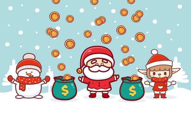 새로운 정상적인 개념과 사회적 거리를 두는 배너를 위한 메리 크리스마스, 수술용 마스크를 쓴 귀여운 산타는 눈이 내리는 겨울에 코로나바이러스 코비드-19를 보호합니다.