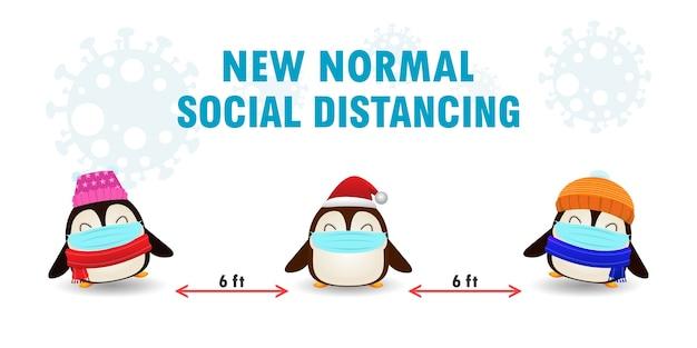 新しい通常のライフスタイルのコンセプトとかわいいペンギンとの社会的距離のためのメリークリスマス