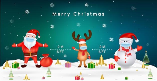 新しい通常のライフスタイルの概念のためのメリークリスマスサンタクロースの雪だるまとサージカルマスクを備えたトナカイは、covidによるコロナウイルスの社会的距離の概念を保護します