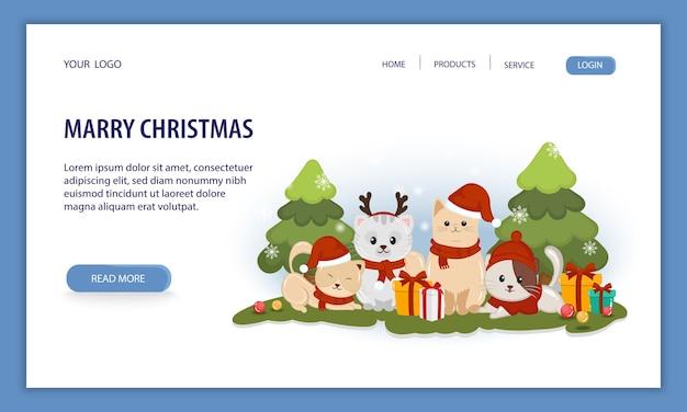 Счастливого рождества для веб-баннера с животными в рождественском костюме на белом фоне