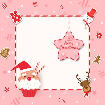 Merry christmas frame with cupcake and cookies to ornaments on pink background.