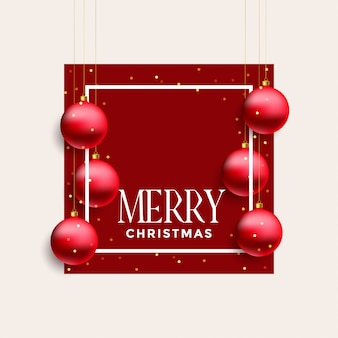Merry christmas frame with hanging red balls