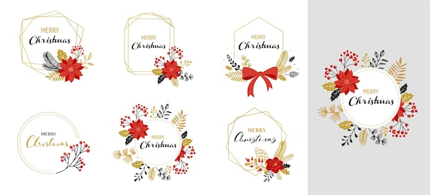 Merry christmas frames, hand drawn elegant isolated, hand drawn vector collection