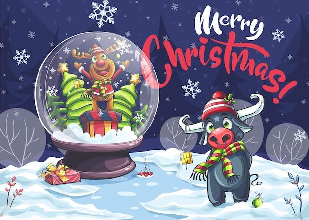 С рождеством христовым забавный мультяшный олень, бык в ночи.