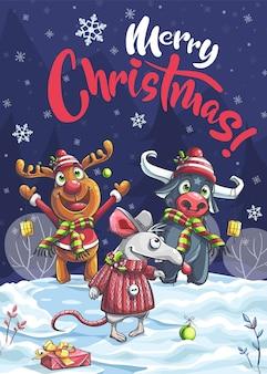 С рождеством христовым забавный мультяшный олень, бык, мышь в ночи.