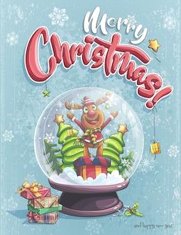 Веселого рождества забавный мультяшный олень в хрустальном снежном коме
