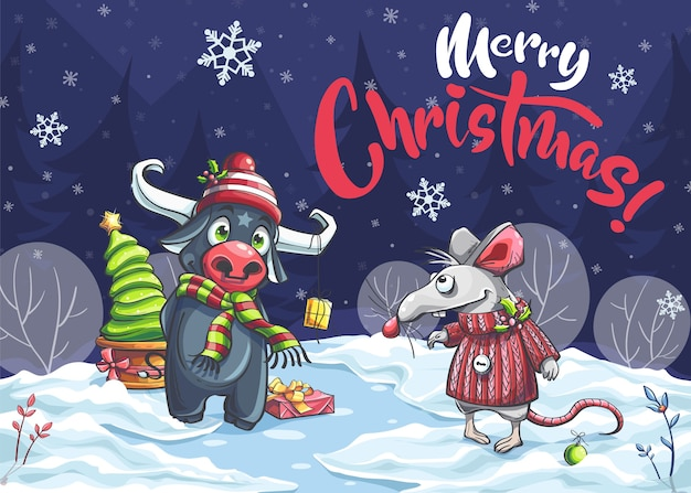 Merry christmas funny cartoon mouse, bull in the night. for print on demand, magazines, book covers.