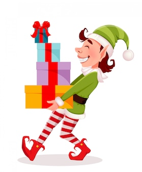 Merry christmas, funny elf carries gift boxes