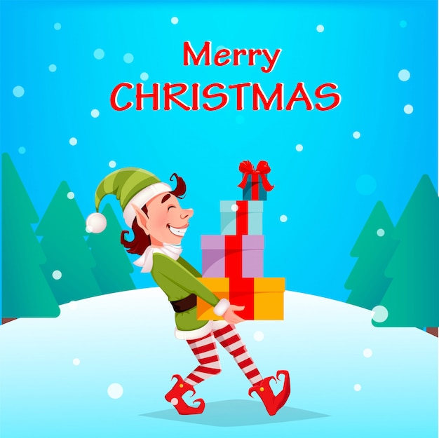 メリークリスマス。面白いエルフはギフトボックスを運ぶ